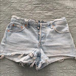 Levi's Mid Rise 501 Light-wash Cutoff Jean Shorts